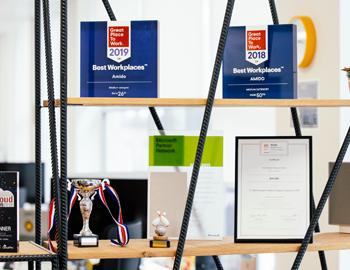 awards on shelf