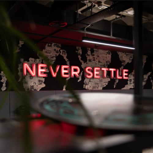 never settle wall lights